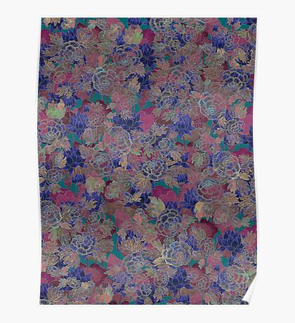 Korean Wild Rose & Lotus Flower - Purple Poster