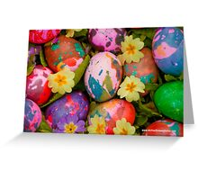Easter eggs with primroses Greeting Card