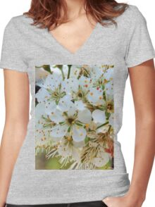 Tree blossoms Women's Fitted V-Neck T-Shirt