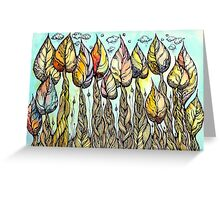 Autumn grove. Hand drawn watercolor and ink drawing Greeting Card