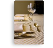 Atmospheric image of a Festive table setting for a formal dinner  Canvas Print
