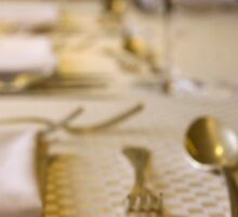 Atmospheric image of a Festive table setting for a formal dinner  Sticker