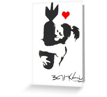 Banksy Hugger Red Greeting Card