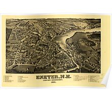 Panoramic Maps Exeter NH county seat of Rockingham County 1884 Poster