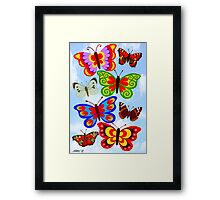 8 BUTTERFLY'S - BRUSH AND GOUACHE Framed Print