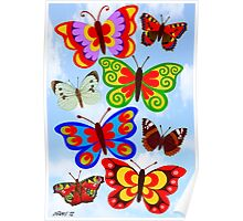 8 BUTTERFLY'S - BRUSH AND GOUACHE Poster