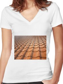 Tiled Roof Women's Fitted V-Neck T-Shirt