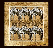 Zebra Herd Brown and Tan by Saundra Myles