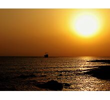 Aground In A Cyprus Sunset Photographic Print