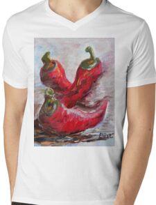 Poppin' Peppers Mens V-Neck T-Shirt