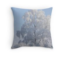 Frost-covered tree Throw Pillow