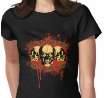 Vintage Triple Skulls with Roller Derby Poem Womens Fitted T-Shirt