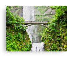 Multnomah Falls, Oregon Tradigital Photo Oil Painting Canvas Print