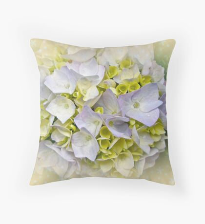 Variegated Lace Cap Hydrangea - Blue and Yellow Throw Pillow