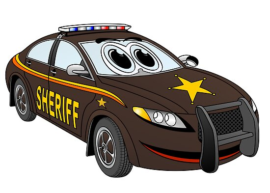 Sheriff Car Cartoon Brown by Graphxpro