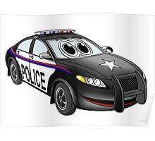 Police Car Cartoon BW Poster