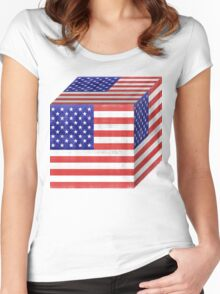 Vintage American Flag Cube Women's Fitted Scoop T-Shirt