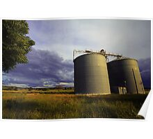 Stormy Silo Sunset Poster