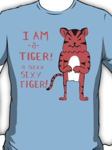 Sexy Tiger - funny cartoon illustration with typography in pink (?) T-Shirt