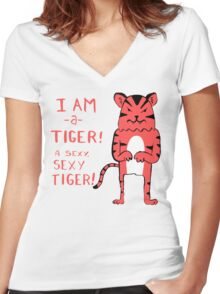 Sexy Tiger - funny cartoon illustration with typography in pink (?) Women's Fitted V-Neck T-Shirt