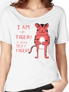 Sexy Tiger - funny cartoon illustration with typography in pink (?) Women's Relaxed Fit T-Shirt