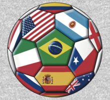 Brazil 2014 - soccer with various flags One Piece - Long Sleeve