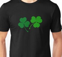 Happy emerald. Green trefoils pattern with coins Unisex T-Shirt