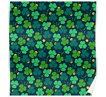 Happy emerald. Green trefoils pattern with coins Poster