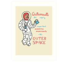 Scientific Astronauts - funny cartoon drawing with handwritten text Art Print