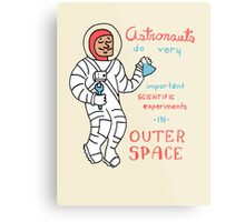 Scientific Astronauts - funny cartoon drawing with handwritten text Metal Print