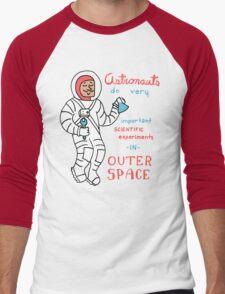 Scientific Astronauts - funny cartoon drawing with handwritten text Men's Baseball ¾ T-Shirt