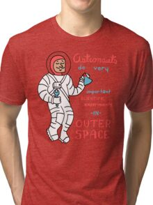 Scientific Astronauts - funny cartoon drawing with handwritten text Tri-blend T-Shirt