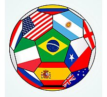 soccer with various flags - Brazil 2014 Photographic Print