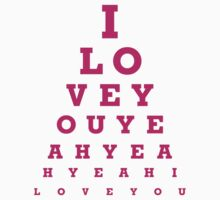 I love you - eye chart One Piece - Short Sleeve