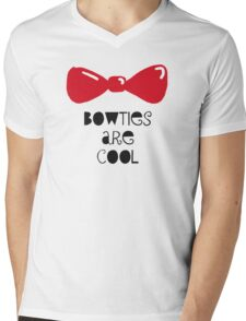 Bowties Are Cool-Black Lettering Mens V-Neck T-Shirt