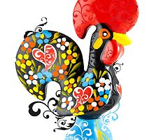 Symbols of Portugal - floral Rooster of Barcelos by Silvia Neto