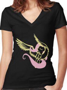 Fluttershy - HalfColor Women's Fitted V-Neck T-Shirt