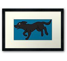 Black Labrador Retriever Running Framed Print