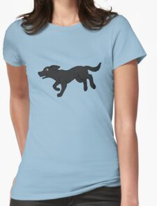 Black Labrador Retriever Running Womens Fitted T-Shirt