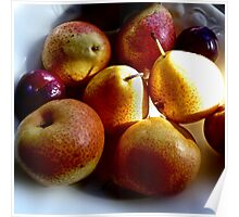 Fruity Still Life - Pears and Plums Poster