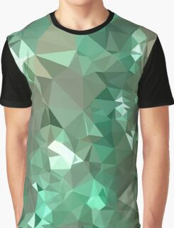Caribbean Green Abstract Low Polygon Background Graphic T-Shirt