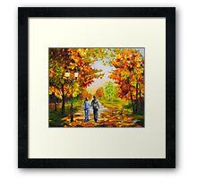 Love in autumn Framed Print