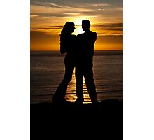 Silhouette of Couple in Sunset Photographic Print