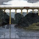 40 - PONTCYSYLLTE AQUEDUCT - DAVE EDWARDS - WATERCOLOUR & INK - 1985 by BLYTHART