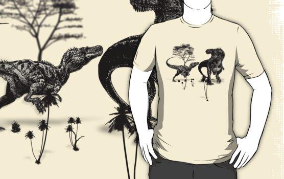 Dinosaur fight by Artificialx