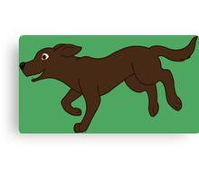 Chocolate Labrador Retriever Running Canvas Print