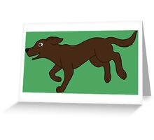 Chocolate Labrador Retriever Running Greeting Card