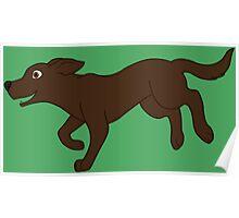 Chocolate Labrador Retriever Running Poster