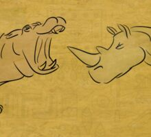 Gentle Giants - Rhino and Hippo Drawing on Tribal Pattern Sticker