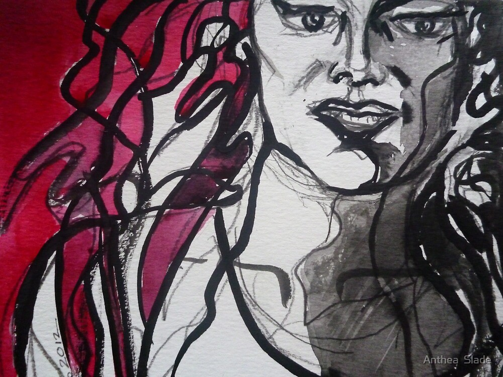 Red & Black Detail by Anthea  Slade